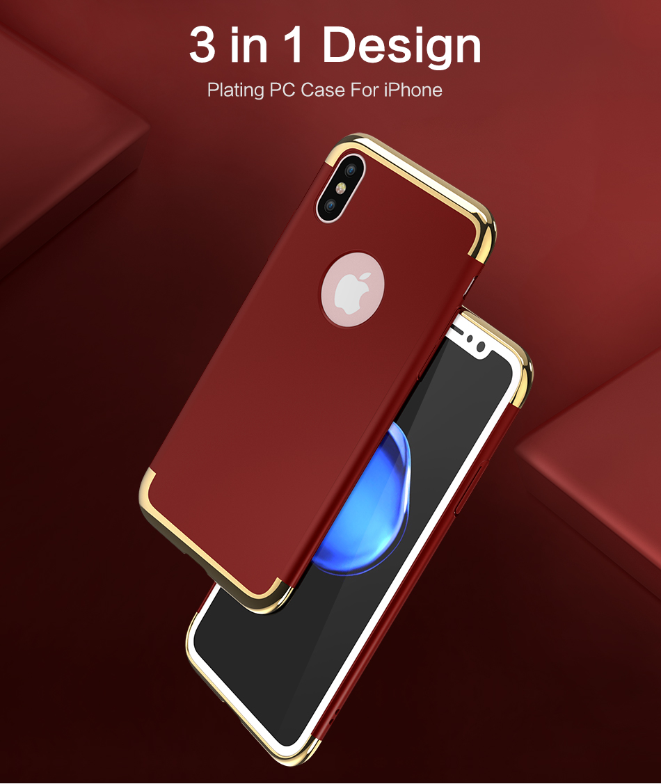 3 In 1 Plating Anti Fingerprint Protective Case For iPhone X