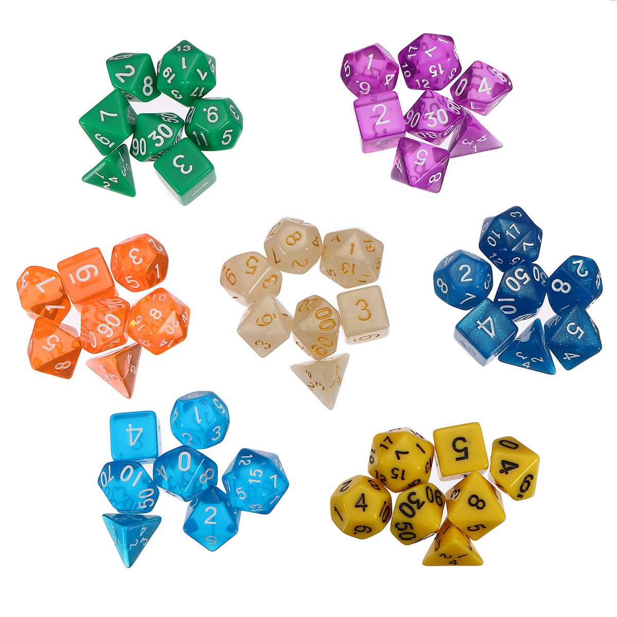 49pcs 7 Colors Multi-sided Game Role Playing Polyhedral