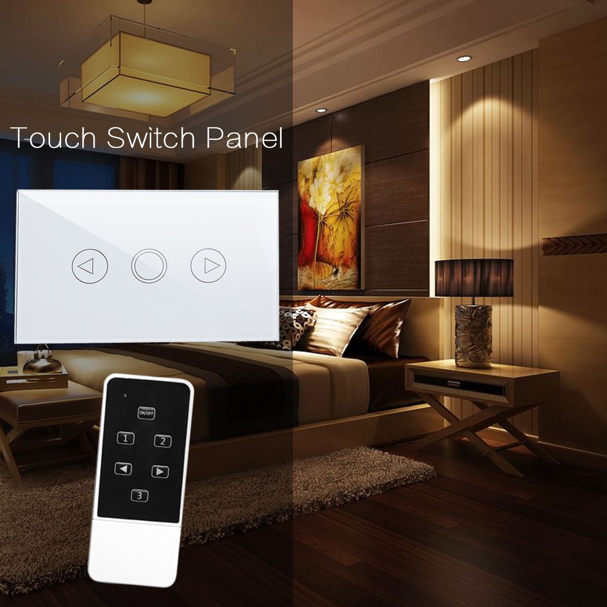 240v 1 way 1 gang crystal panel switch led touch remote. Black Bedroom Furniture Sets. Home Design Ideas