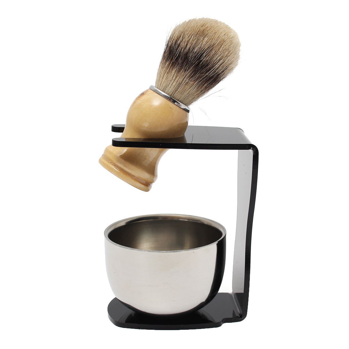 3 in 1 Men's Shaving Set Drip Brush Stand + Badger Hair Brush + Stainless Steel Bowl Mug