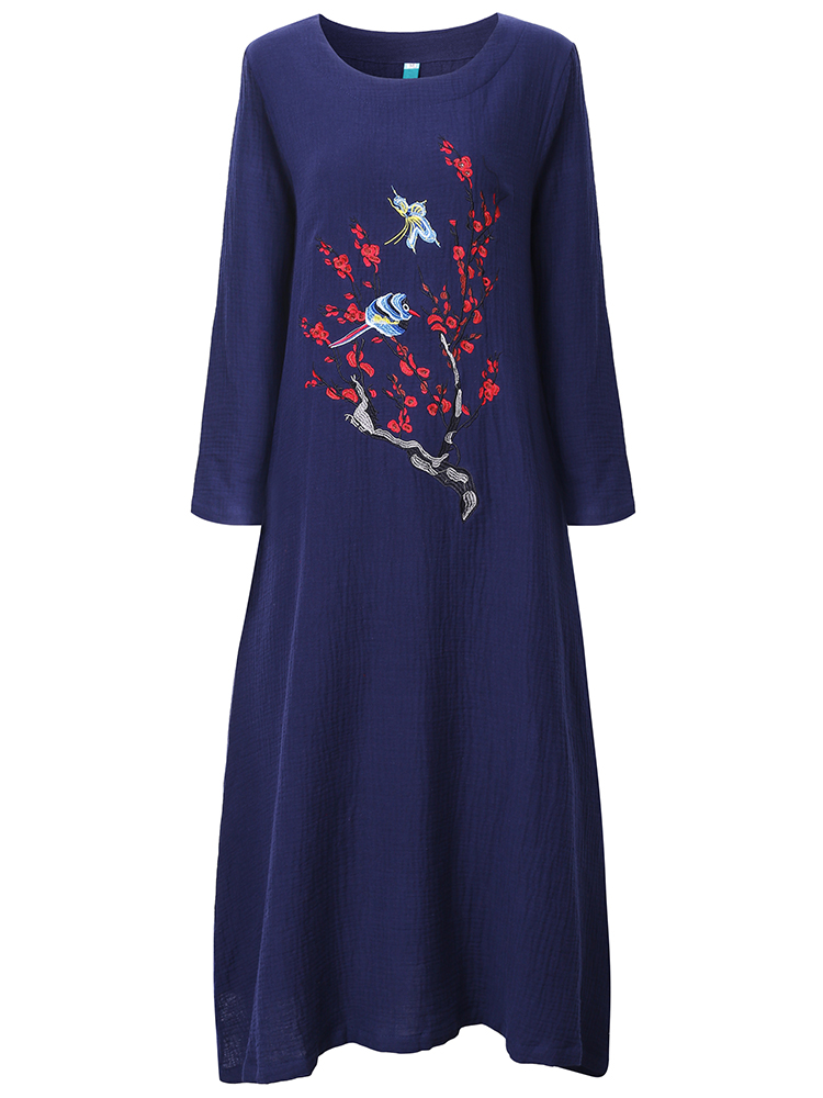 Vintage embroidery o neck long sleeve loose maxi dress at