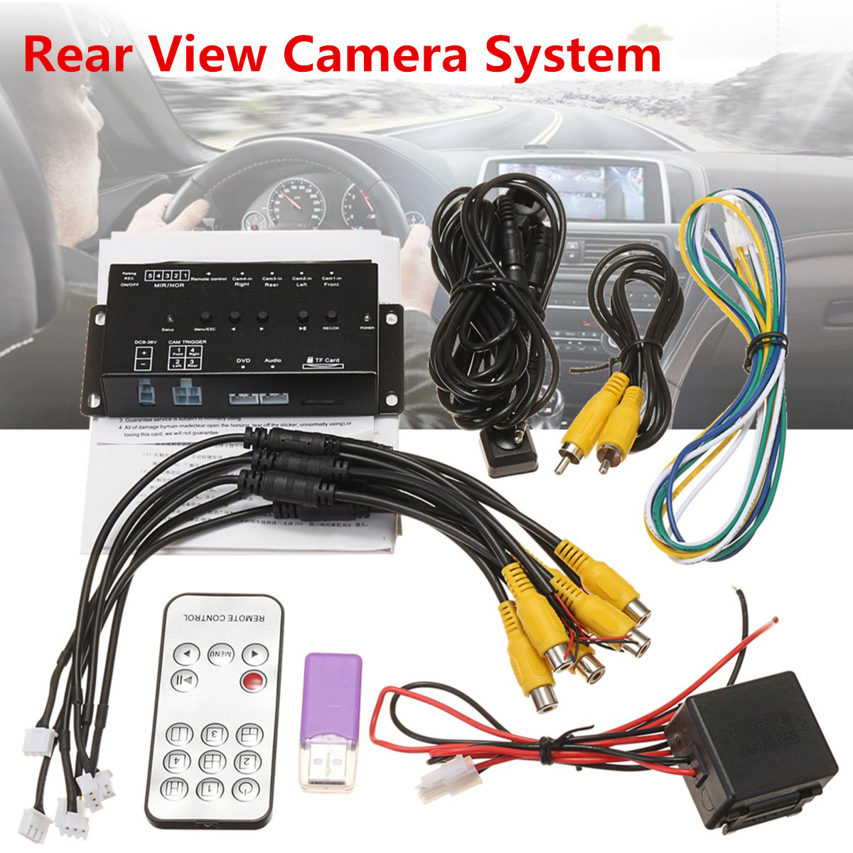 360 degree dc 12v car suv dvr record panoramic view all round rear view camera system. Black Bedroom Furniture Sets. Home Design Ideas