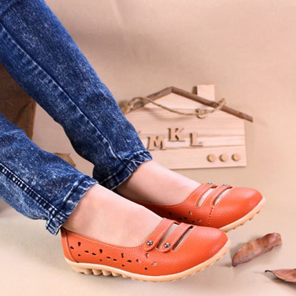 Women Soft Comfortable Summer Outdoor Casual Hollow Out Breathable Flat Loafers Shoes