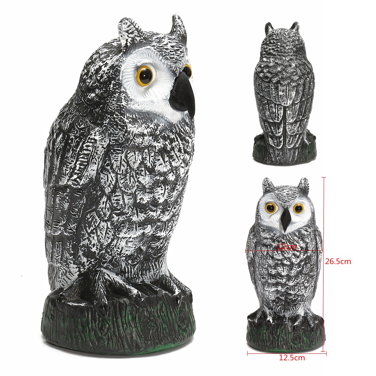 Plastic standing fake owl hunting decoy deterrent scarer for Garden accessories sale