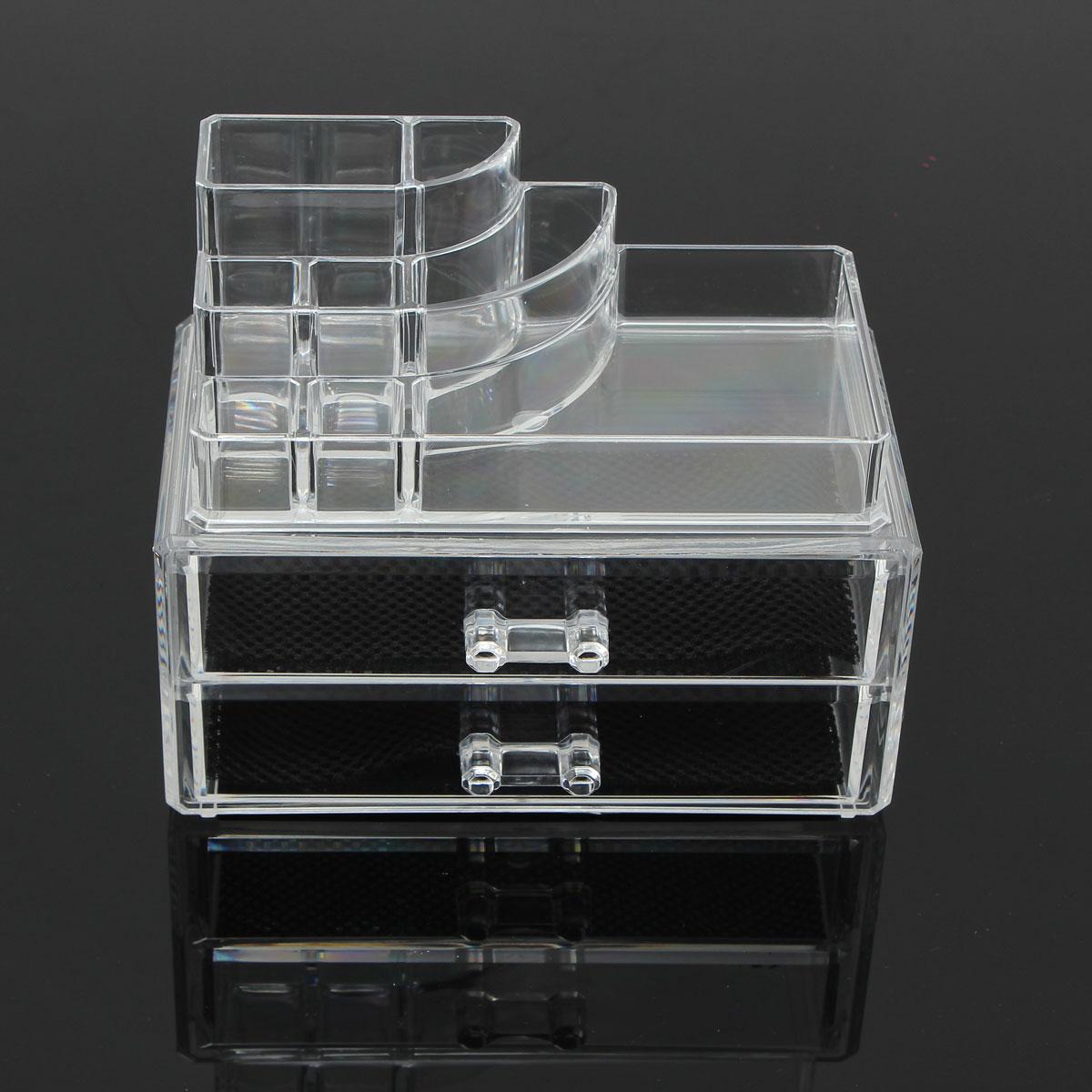 2 Drawer Clear Acrylic Cosmetic Organizer Storage ...