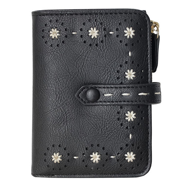 Hollow Out PU Leather Small Wallet Card Holder Purse For Women