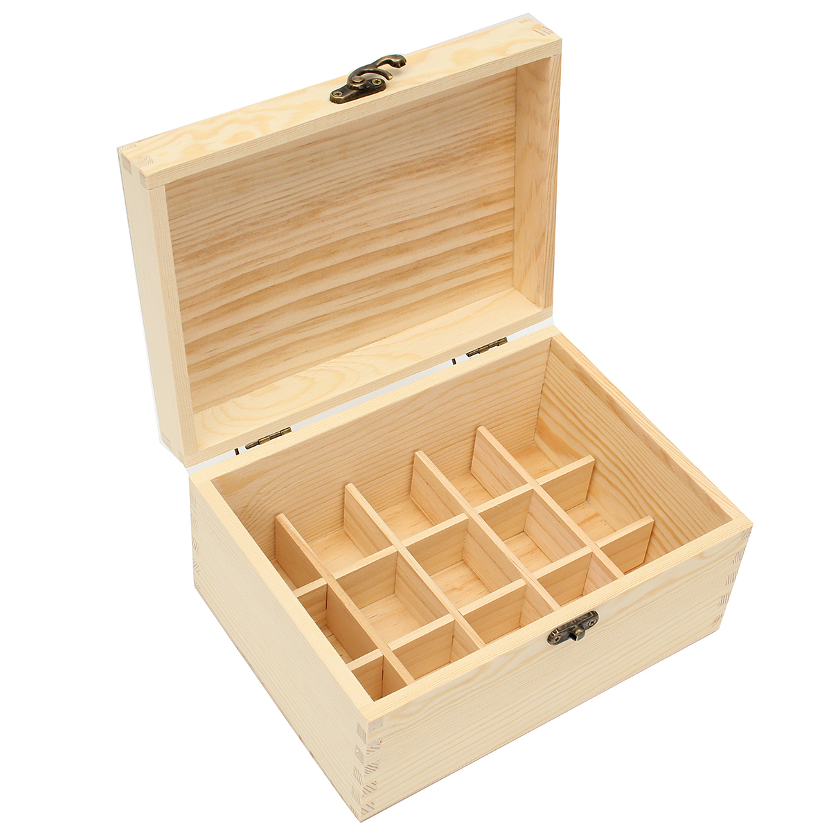15 Grids Natural Wood Box Essential Oils Storage Anti-evaporation Box Case