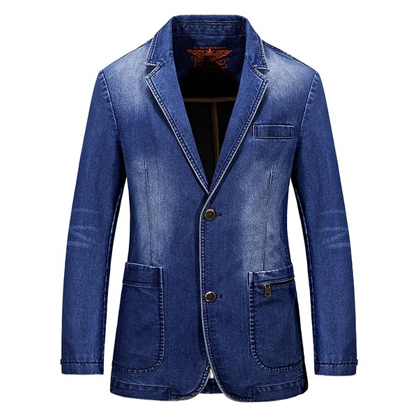 Fashion Mens Denim Suits Single-Breasted Casual Jacket British ...