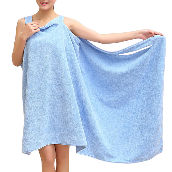 Buy Women Cozy Soft Solid Color Thicken Home Dress Water Absorbent Fiber Bath Towel Bathrobe