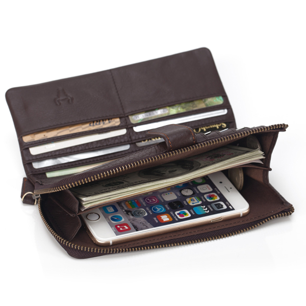 12 Card Slots Genuine Leather Zipper Wallet Cowhide Card Holder Phone Pocket For Men