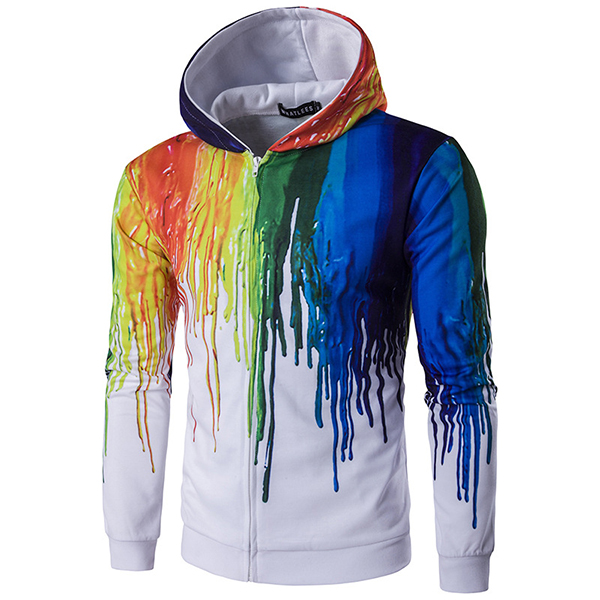 Buy Mens Fashion 3D Colorful Printing Hoodies Sweatshirt Zipper Slim Fit Casual