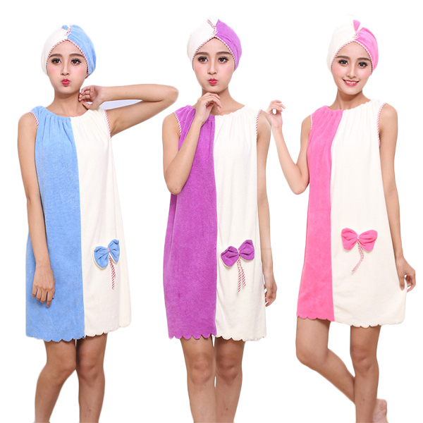 Buy Honana BX-969 Flannel Soft Absorbent Skirts Salon Bathrobe Women SPA Bath Towel With Hair Dry Cap