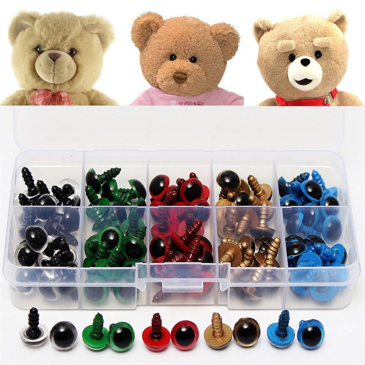 100Pcs 10mm 5Colors Plastic Safety Kid 3D Eyes Washer Toy Teddy Bear Doll Puppet Animal DIY Handmade