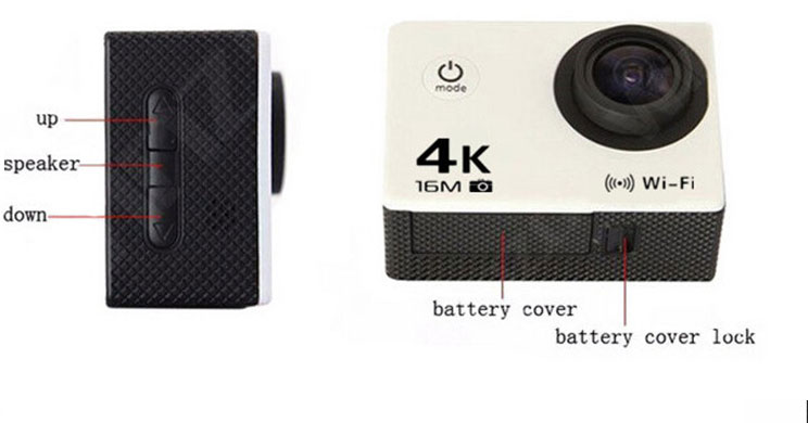 AT-30 170 Degree Wide Angle 16MP CMOS 4K 64G WiFi Action Waterproof FPV Camera - Photo: 5