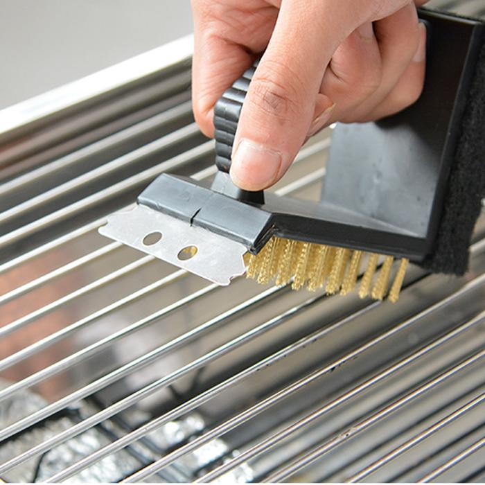 Image of 3 in 1 barbecue spazzola metallica spugna pulito spazzola di pulizia barbecue grill