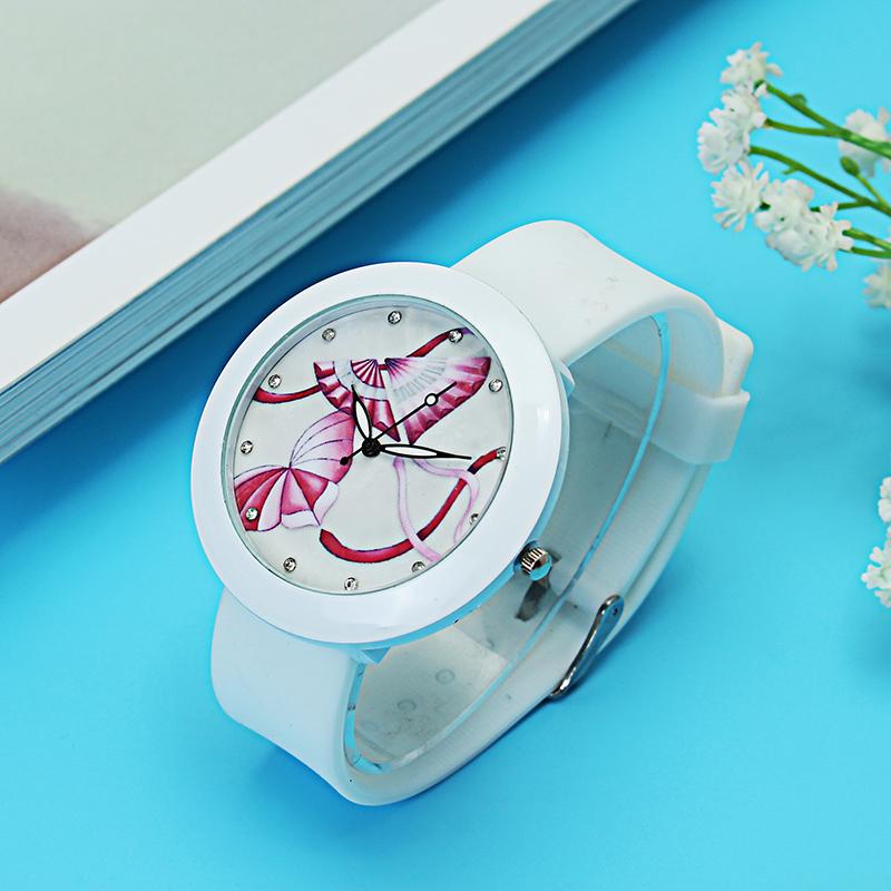 Modieuze dames polshorloge Butterfly Bird Flower 17 patronen strass siliconen quartz horloge