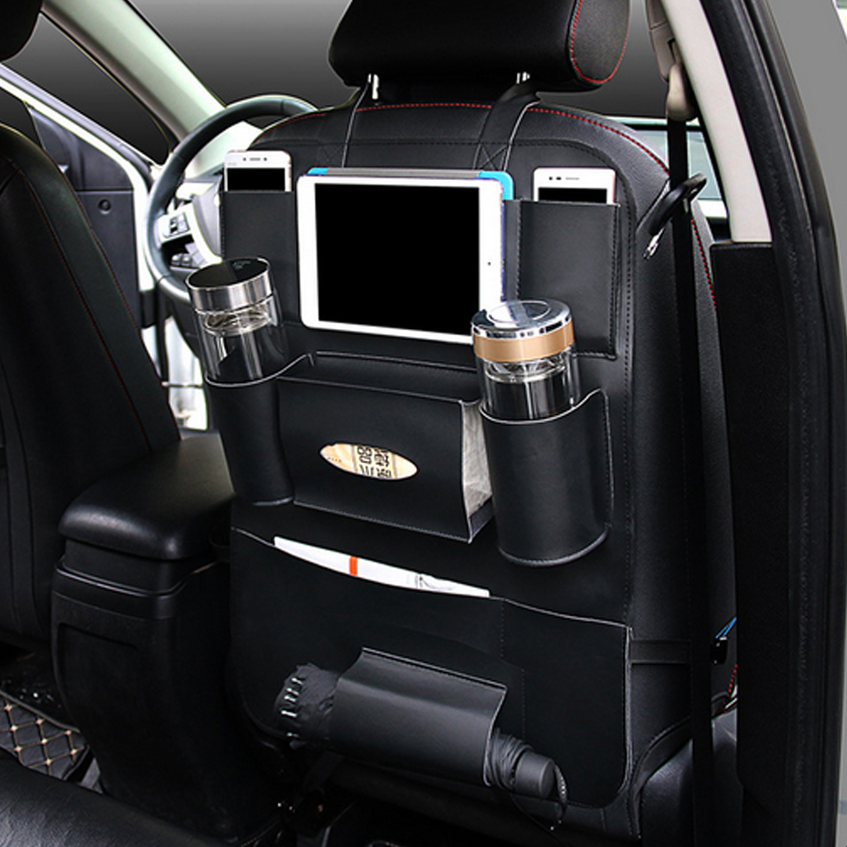 car back seat multi pocket phone cup holder pu leather seat organizer vehicle auto seat storage. Black Bedroom Furniture Sets. Home Design Ideas