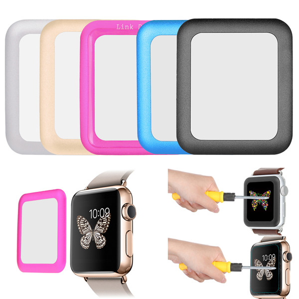 Buy 38mm Link Dream 0.2mm Metal Full-covered Tempered Glass Screen Protector Film For Apple Watch