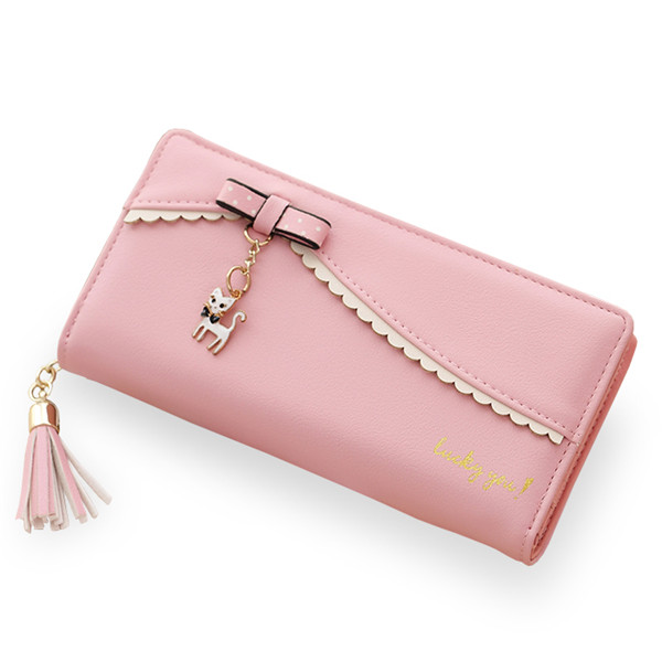 Multifunctional Tassels Cat Pendant Large Capacity Women Wallet Phone Bag for Phone under 6.5 inches