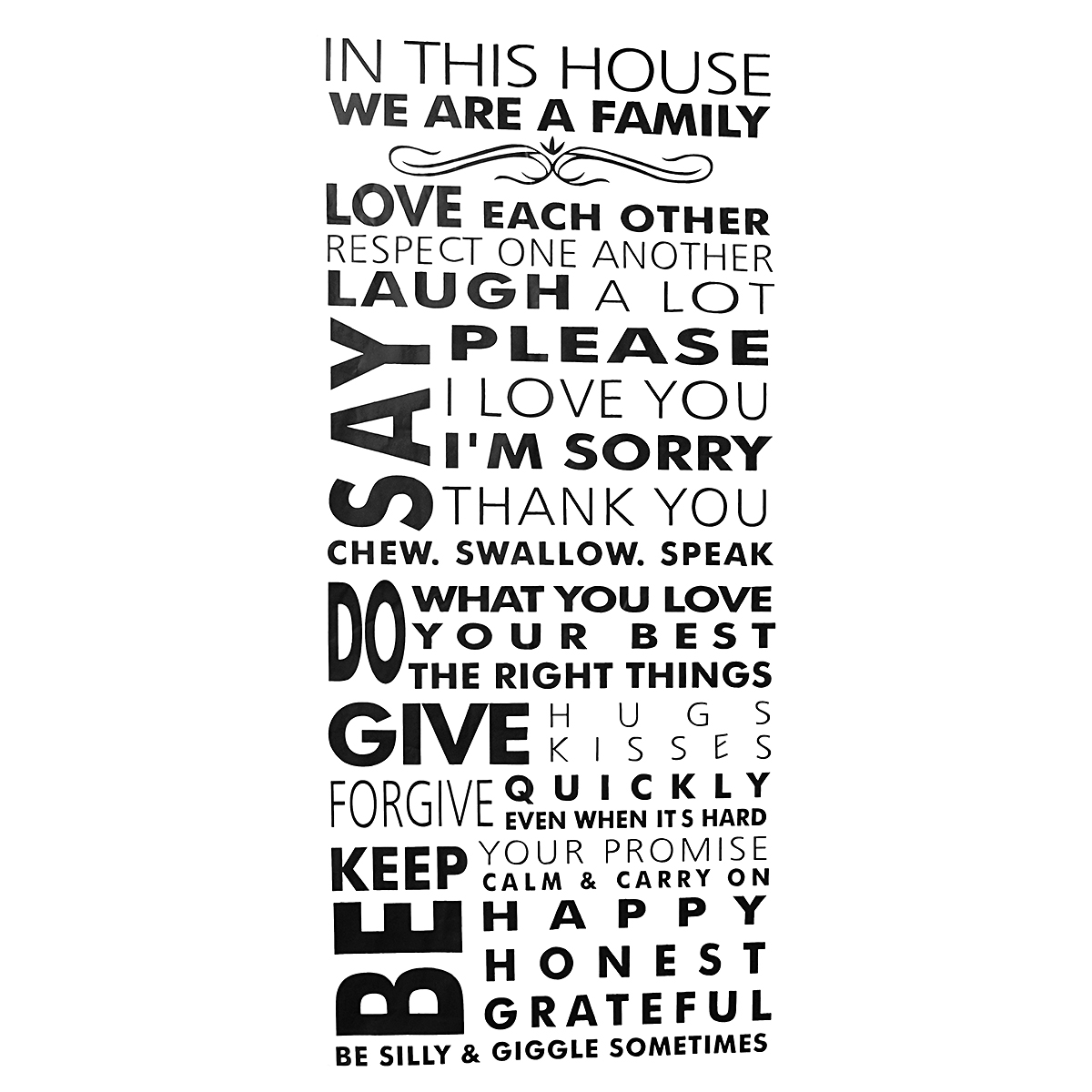 bedroom rules. 50inch removable family rules in this house wall sticker bedroom home decal