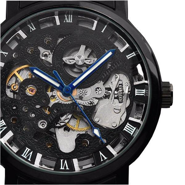 WINNER Fashion Escultura Mecánica Reloj Retro Acero Inoxidable Correa Hombre Reloj Automático