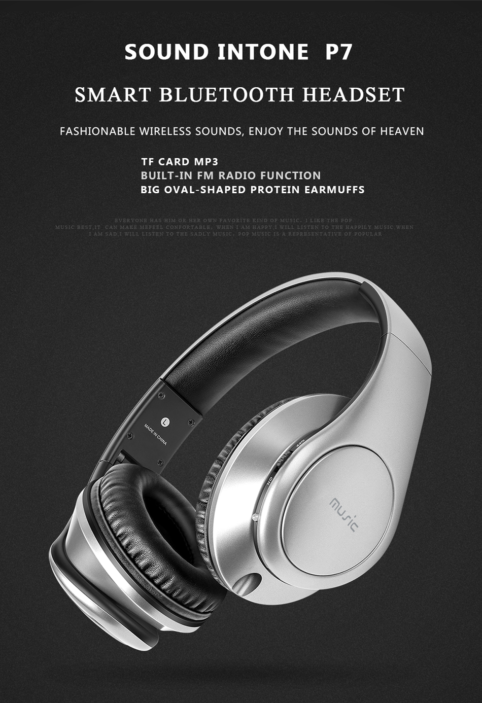 3bf1e056462 1 x Sound Intone P7 Bluetooth Headset. More Detailed Photos: Sound Intone  P7 Wireless Bluetooth Headphone Headset With Mic Support FM TF Card
