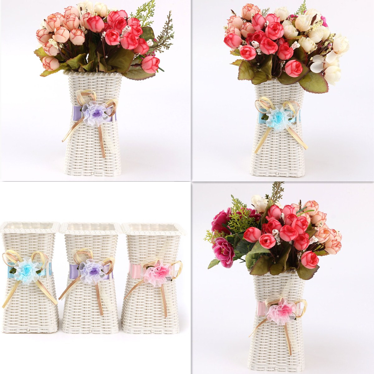 Vases white flowers vase plastic artificial flowers vase for Artificial flower for decoration
