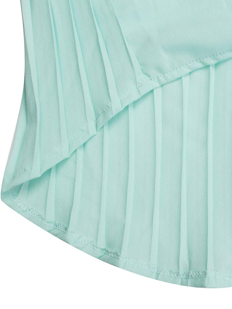 Casual Women Long Sleeve Pleated Irregular Chiffon Blouse