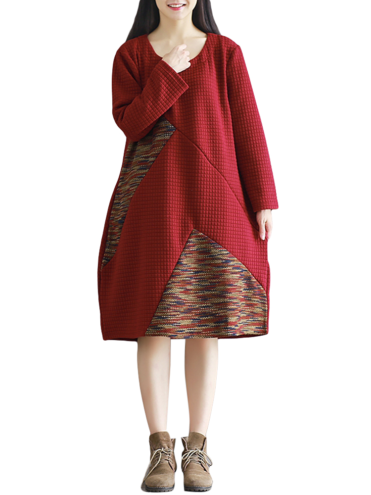 Casual Women Loose O-Neck Long Sleeve Patchwork Color Block Thick Dress