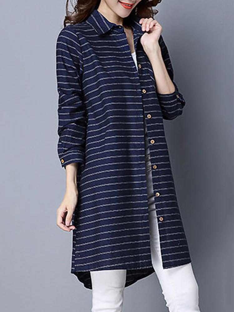 Elegant Stripe Long Sleeve Loose Cotton Women Shirt