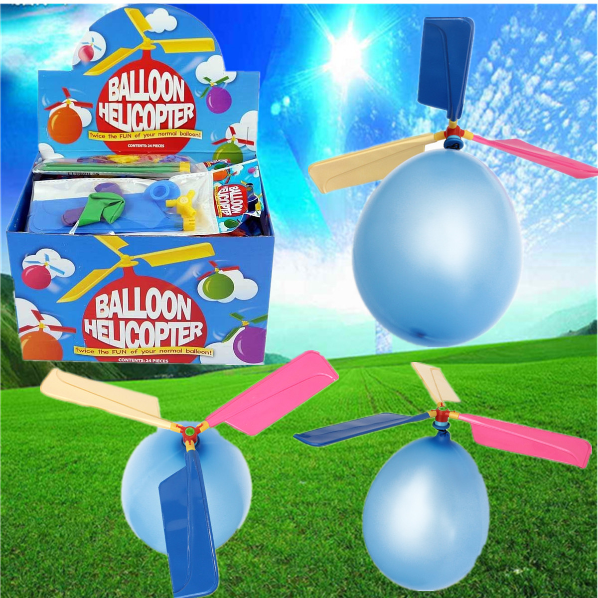 20X Colorful Traditional Classic Balloon Helicopter Portable Flying Toy - Photo: 1
