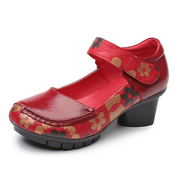 1b0fec6f3b6 Socofy printing hook loop mid heel round toe retro casual shoes red pumps  shoes uk – Best Fashion Woman
