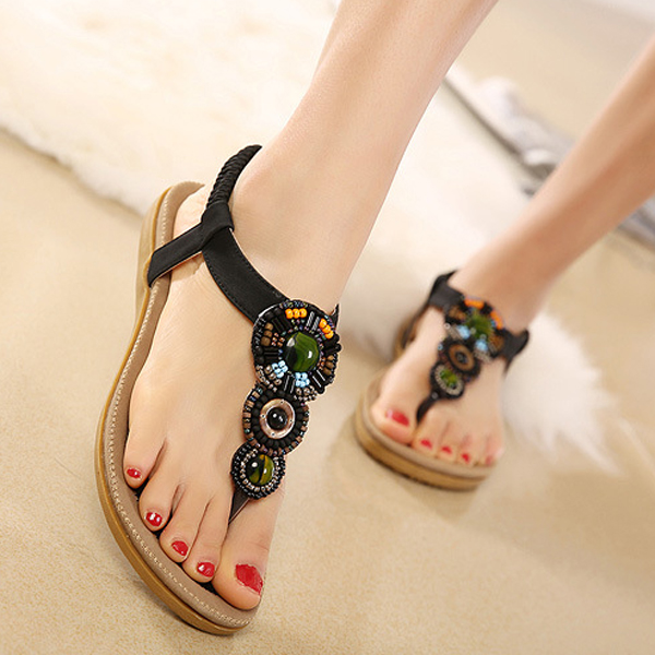 5b7442d038c6 Bohemia rhinestone bead beach sandals elastic slip on flat sandals 6 ...