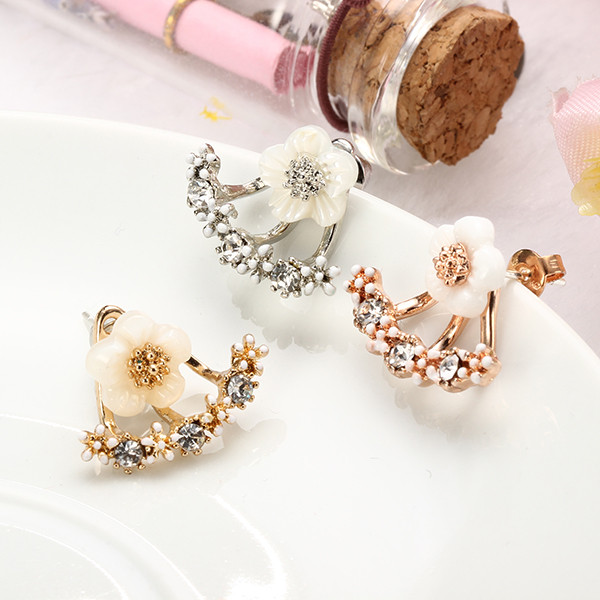 Cute Daisy Flower Crystal 925 Silver Needle Ear Stud Earrings For Women