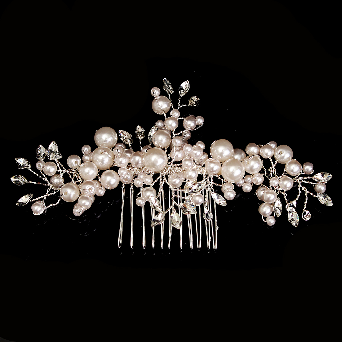 Buy Bride Rhinestone Crystal Pearl Hair Comb Elegant Wedding Prom Bridal Headpiece