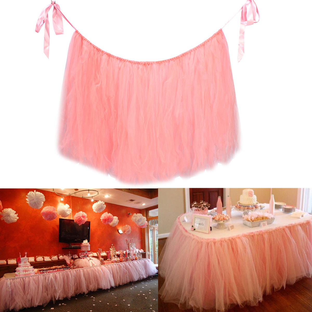 Pink 80*100cm Tulle Tutu Table Skirt Wedding Birthday Baby
