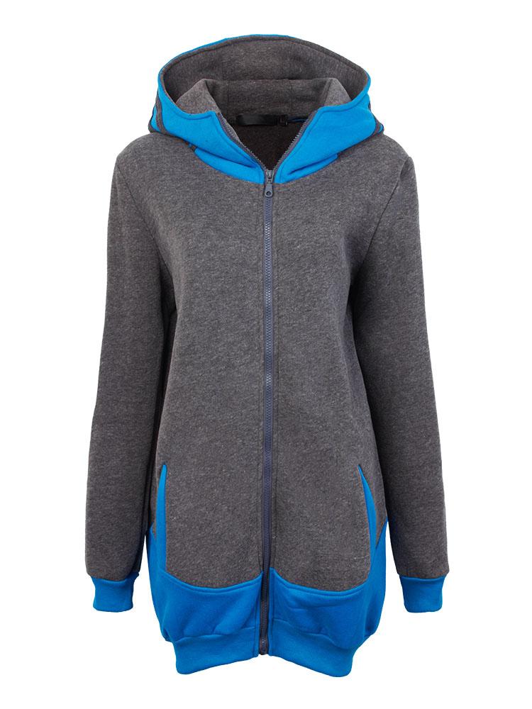 Blue Contrast Color Women Hood Sweatshirt
