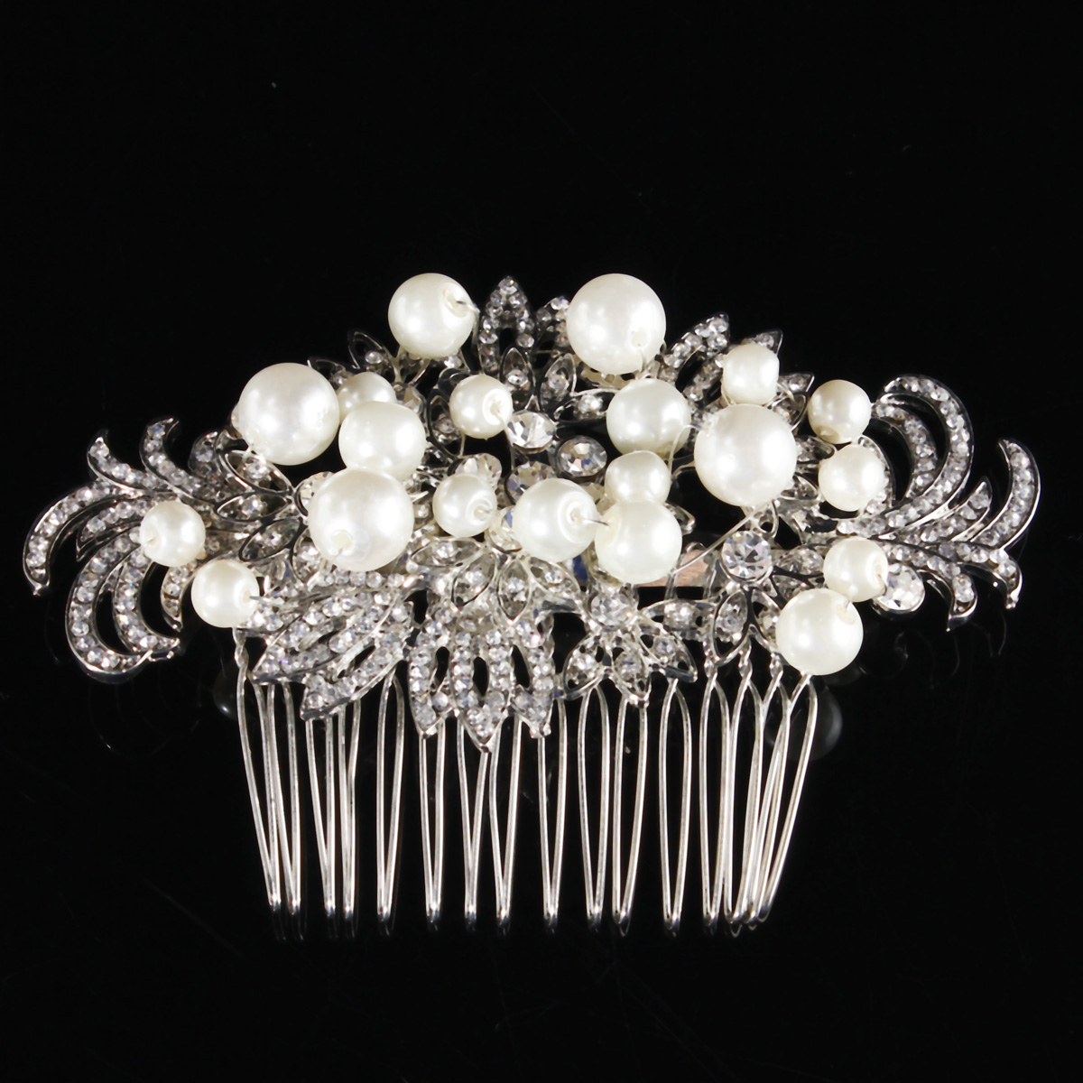 Buy Bridal Artificial Pearl Crystal Rhinestone Flowers Diamante Hair Clip Comb Bride Wedding Headpiece