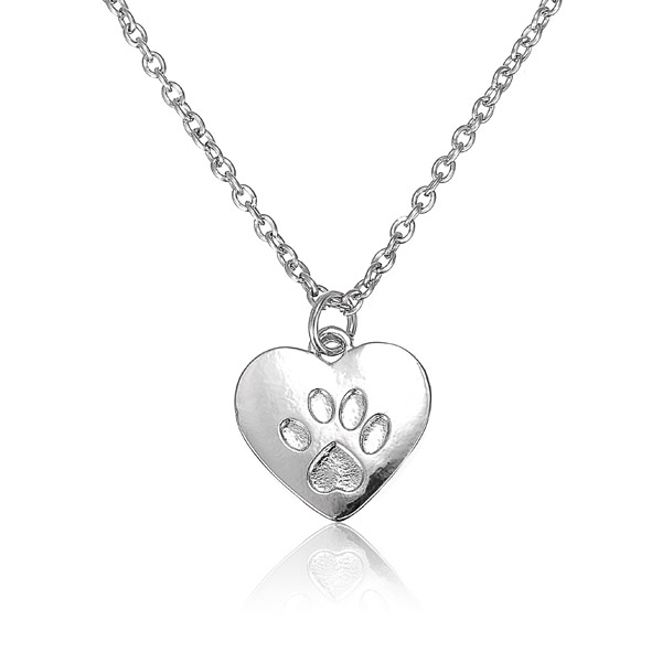 Heart Dog Cat Paw Prints Animal Footprints Pendant Sweet Necklace