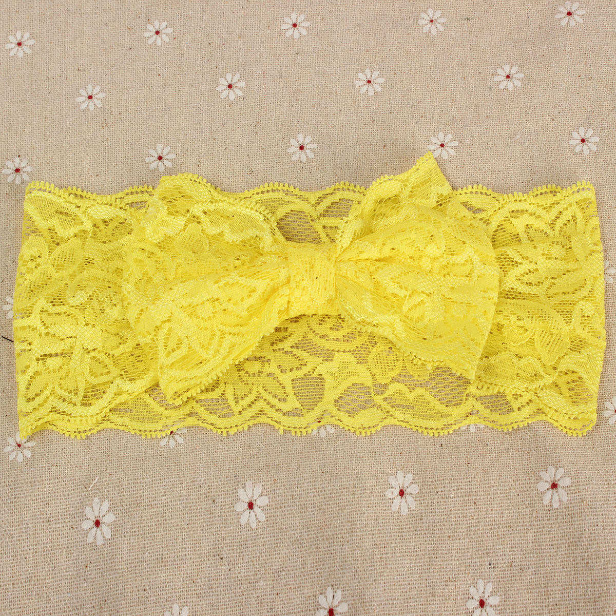 Lovely Baby Girls Kids Stretch Hair Band Lace Bowknot Headbrand Knot Turba