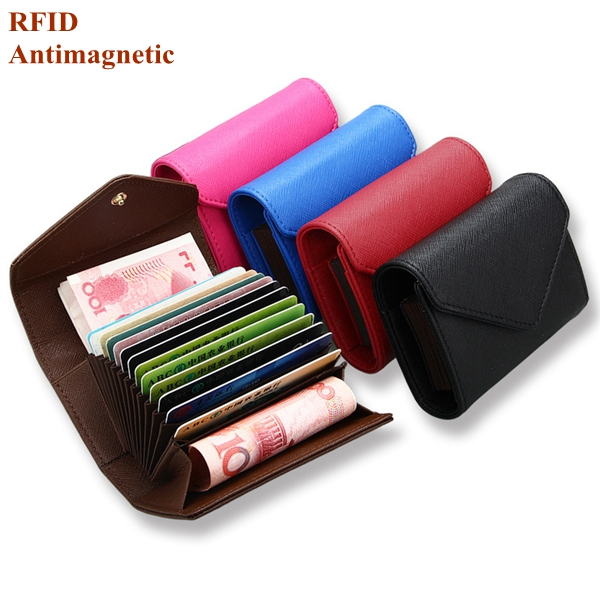 RFID Microfiber Leather Multi-slots 13 Card Slots Card Holder Pure Coin Bags