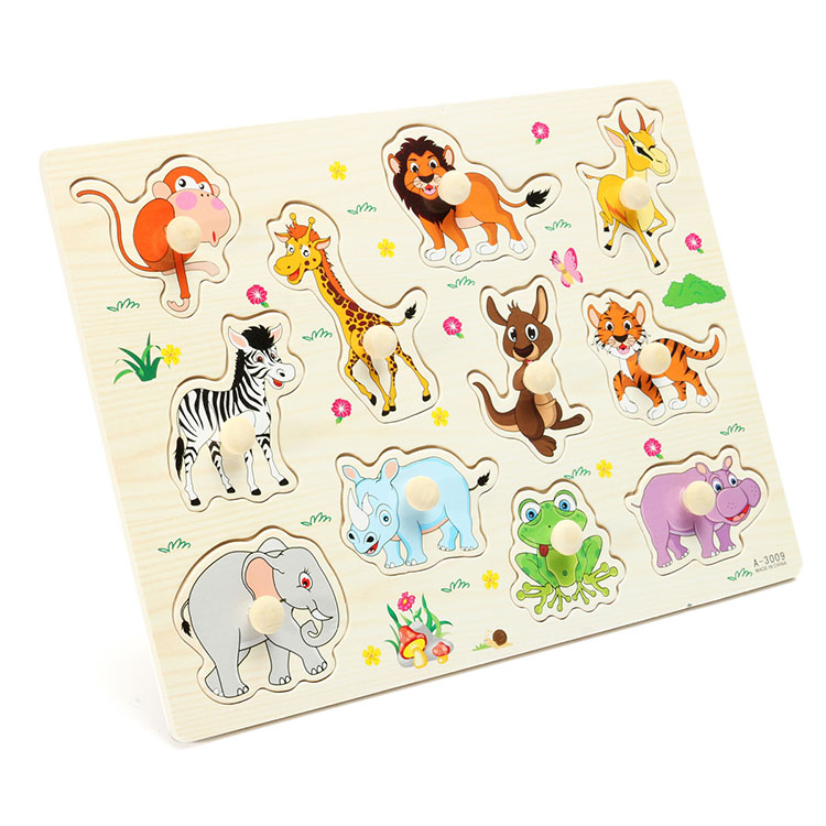 Kids Educational Toys Zoo Animals Wooden Puzzles Kids