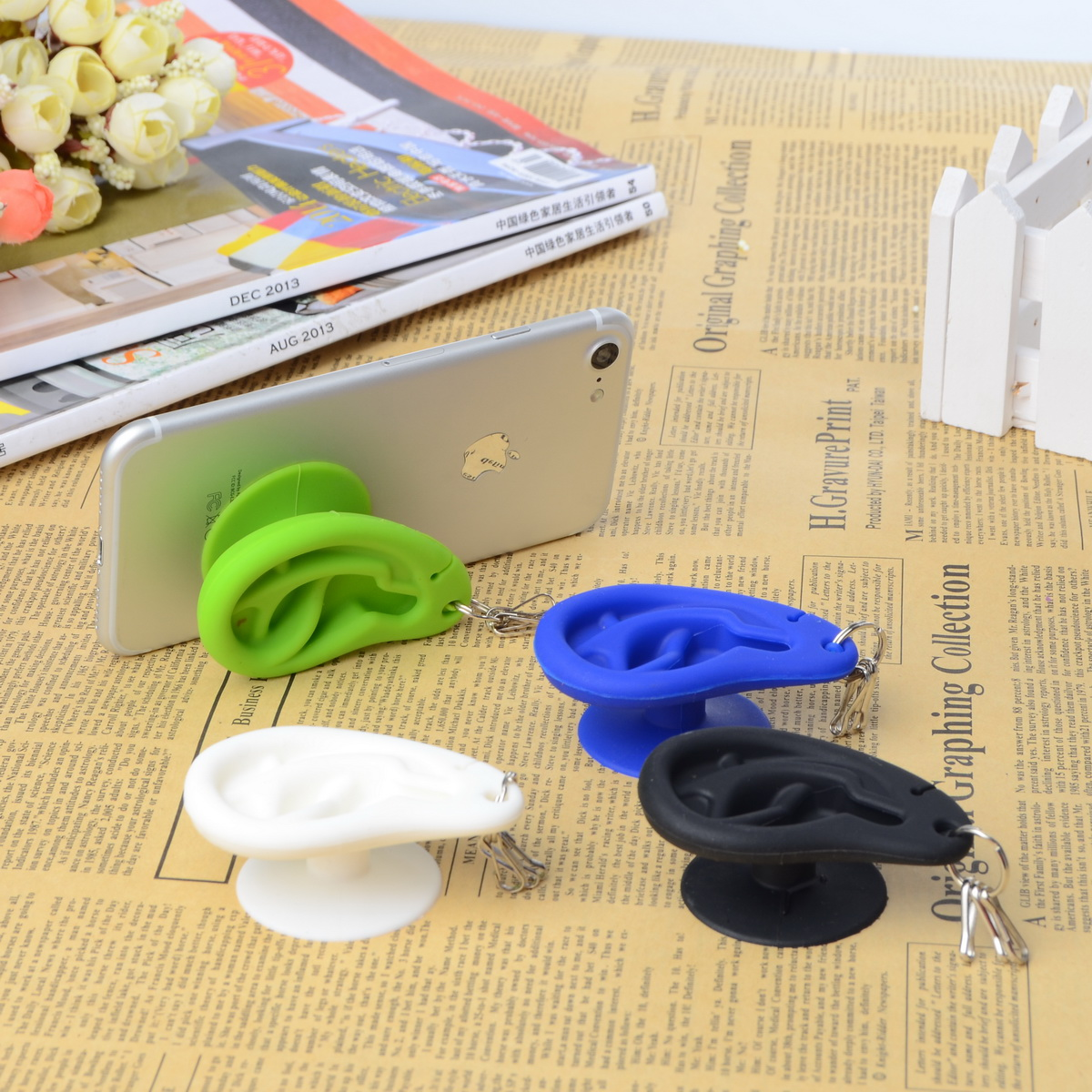 Buy Ear Creative Silicone Sucker Stand Holder Cable Organizer For Smartphone Key Chain Earphone