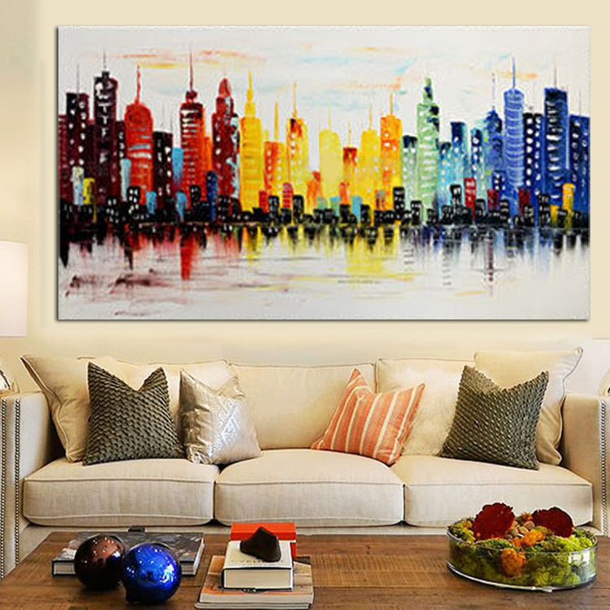 120x60cm Modern City Canvas Abstract Painting Print Living Room Art Wall Decor No Frame At Banggood