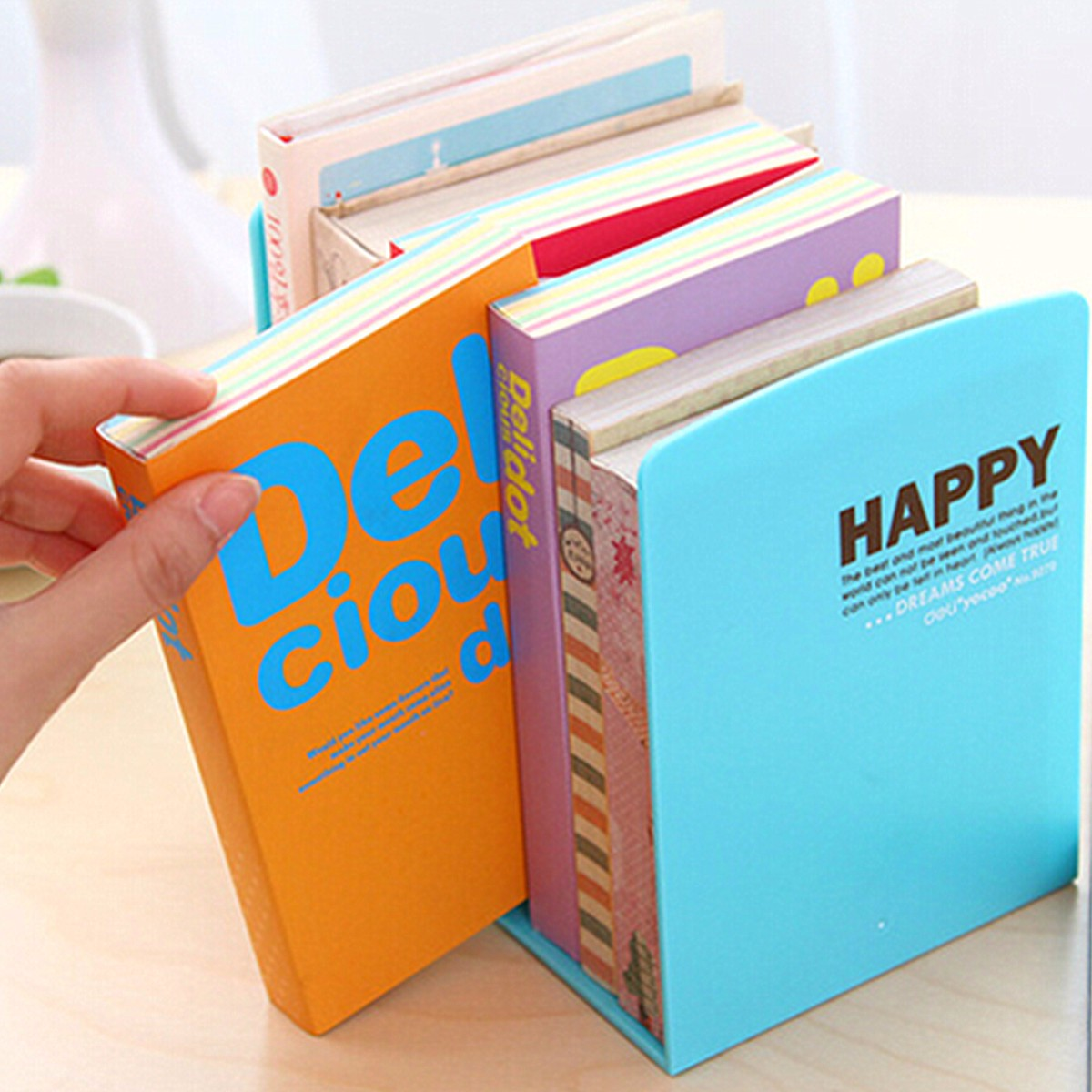 2 Pcs Durable Plastic Book End Shelf Bookend Holder Office