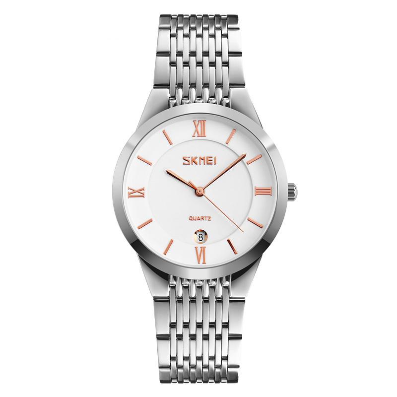 SKMEICasualStyleCalendarMen Mujer Reloj de pulsera Correa de cuero Pareja Relojes