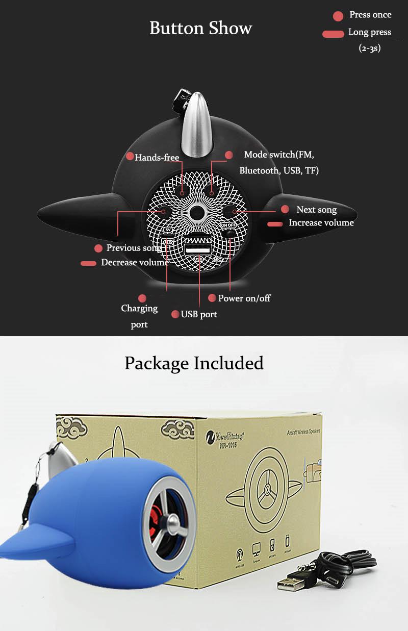 Mini Plane Propeller HiFi TF Card FM Radio Hands-free U Flash Disk Wireless  Bluetooth Speaker