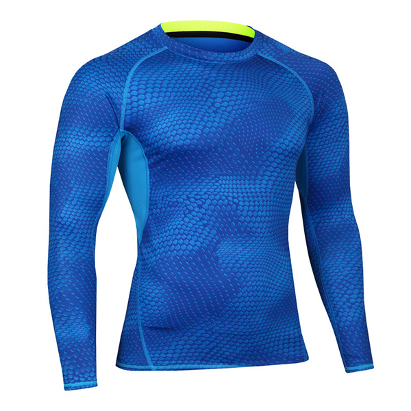 Buy Mens Training Fitness Tight Quick Drying T-shirt Elastic Compression Long Sleeve Sportswear