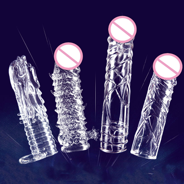 Longer Crystal Transparent Penis Set Lock Time Delay Stretchy Adult Toys