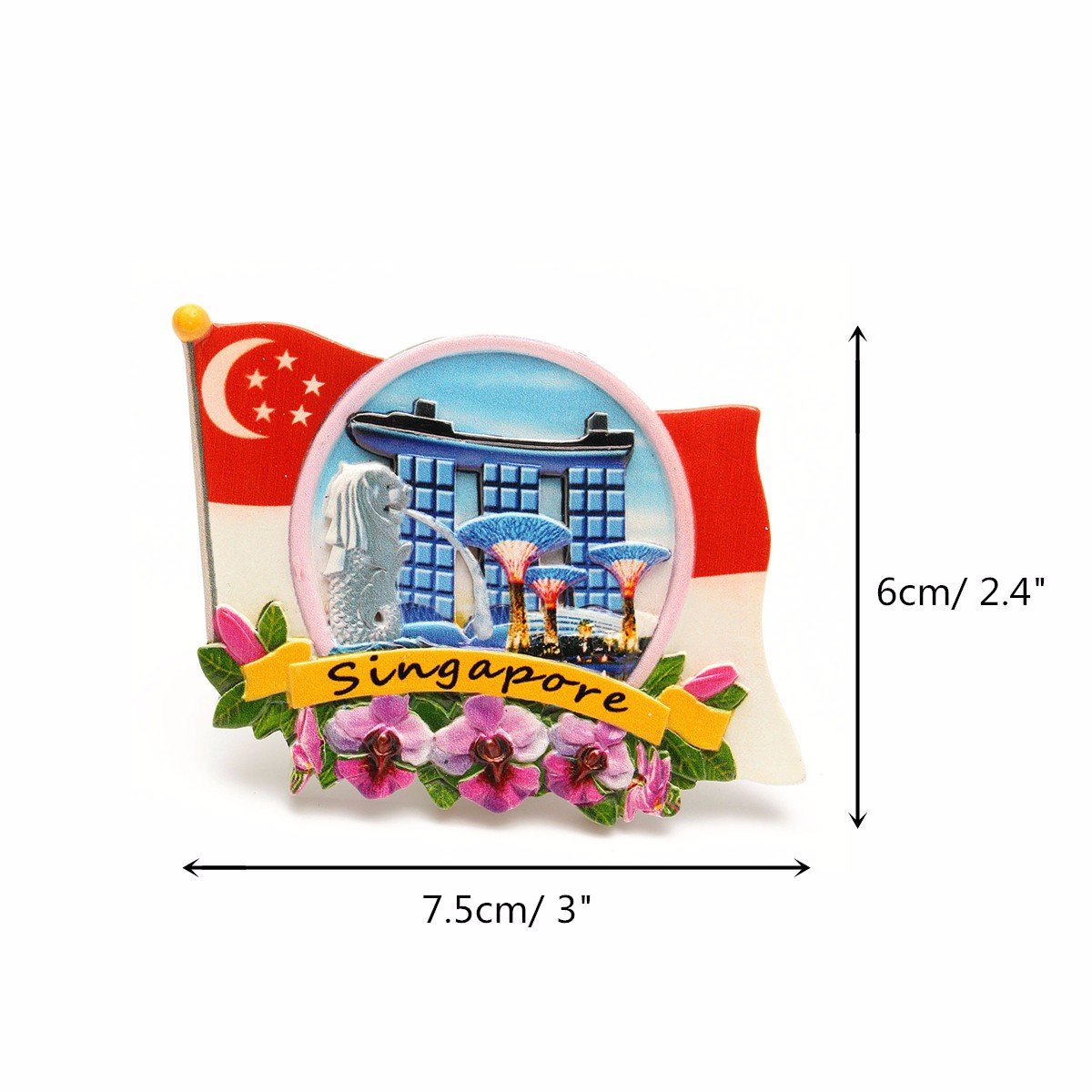 Tourist Souvenir Favorite Travel Resin 3D Fridge Magnet Colorful-Singapore - Photo: 5